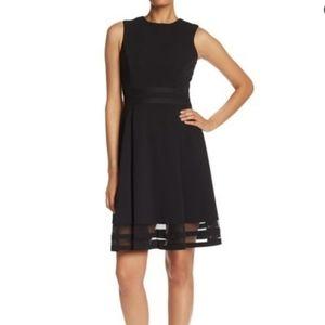 NWT Calvin Klein flare style black dress sz 2